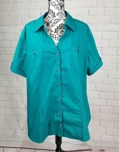 Fashion Bug size 3x short sleeve button front top
